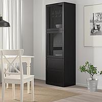 БЕСТО Комбинация д/хранения+стекл дверц, черно-коричневый, прозрачное стекло, 60x42x193 см, фото 1
