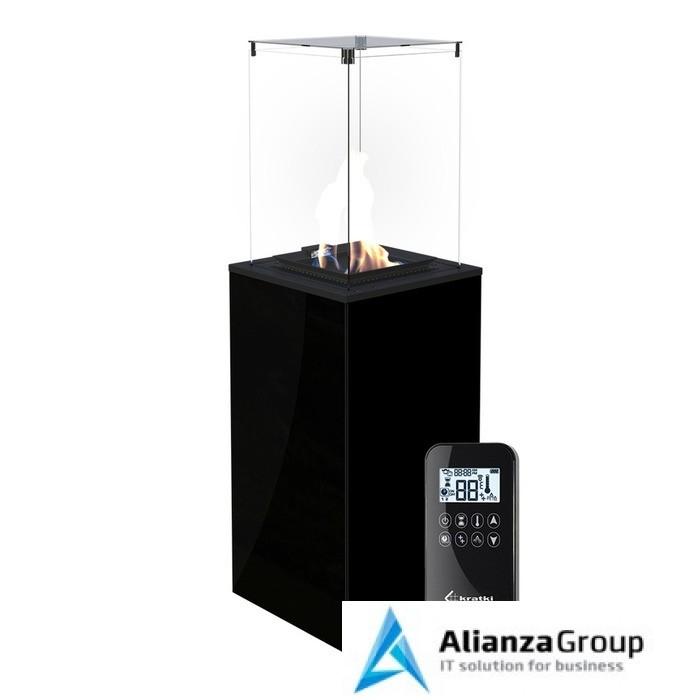 Газовый уличный обогреватель мощностью 8-10 кВт Kratki PATIO MINI/G31/37MBAR/CZ - черное стекло, с пультом ДУ