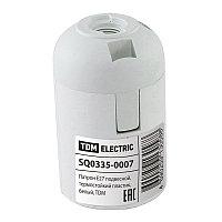 Патрон Е27 подвесной,термостойкий пластик,белый,TDM