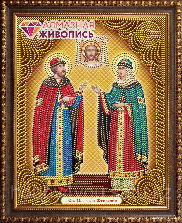 """Картина стразами """"Икона Петр и Феврония"""", 22*28см"""