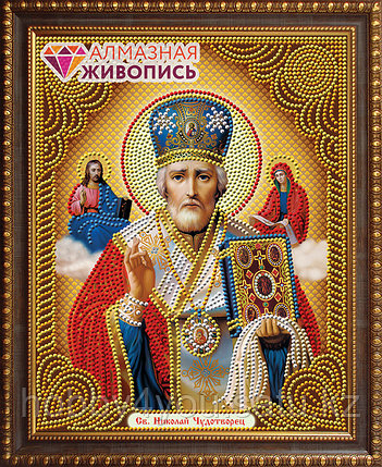 """Картина стразами """"Икона Николай Чудотворец"""", 22*28см, фото 2"""