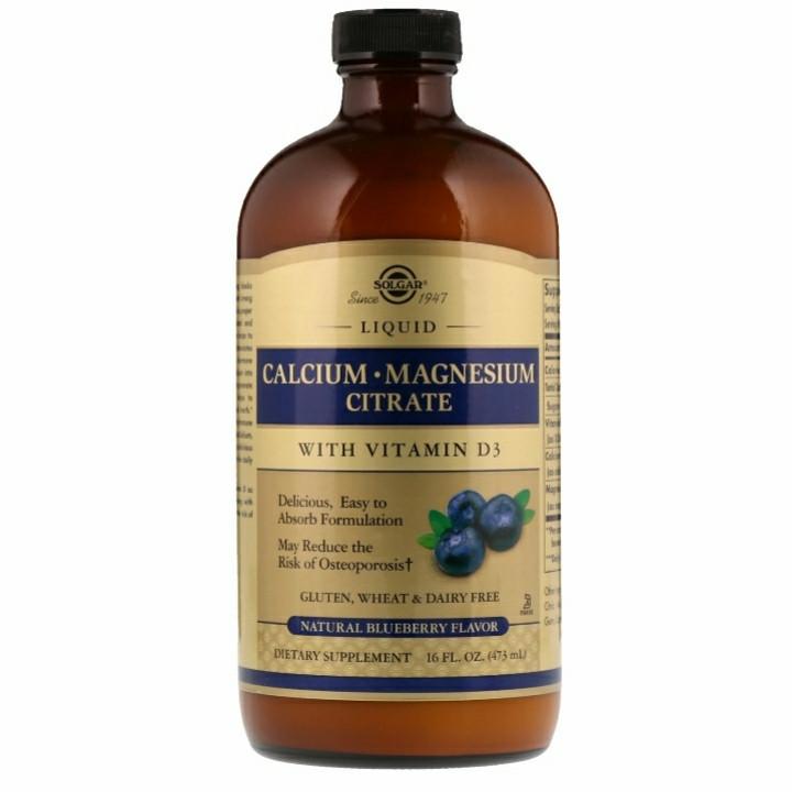 Solgar, Цитрат кальция и магния, с витамином D3, в жидкой форме, вкус натуральной черники, 473 мл