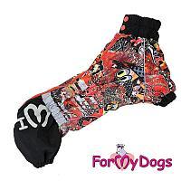 Дождевик ForMyDogs для девочек (Черный/мульти) - 41-58 см