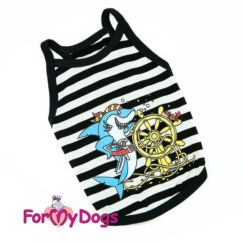 """Майка ForMyDogs """"Акула Пират"""" для собак (Черно-белая) - 14 р"""