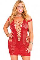 Красное сетчатое мини-платье с вырезом