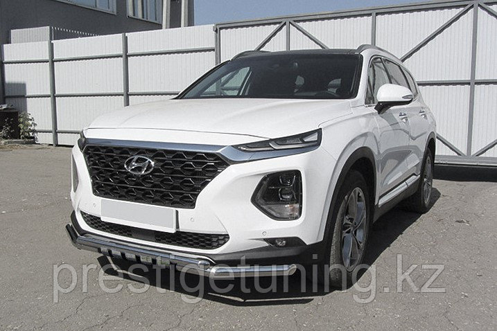Защита переднего бампера d57+d42 двойная с декоративными элементами Hyundai SANTA FE 2018-