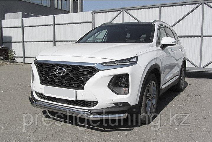 Защита переднего бампера d57+d42 двойная Hyundai SANTA FE 2018-