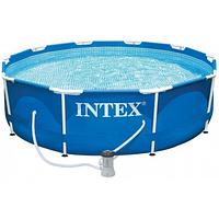 Каркасный бассейн Intex New, 305 x 76 см с фильтром, тент,подстилка