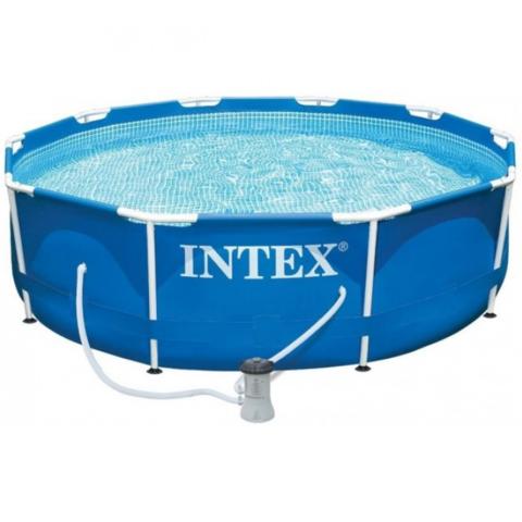 Каркасный бассейн Intex New, 366 x 76 см с фильтром, тент,подстилка