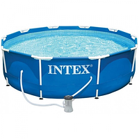 Каркасный бассейн Intex New, 366 x 76 см с фильтром, тент,подстилка, фото 1