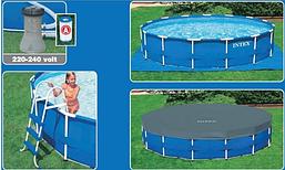 Каркасный бассейн Intex New, 457 x 122 см с фильтром, тент,подстилка лестница