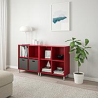 ЭКЕТ Комбинация шкафов с ножками, красный, 140x35x80 см, фото 1