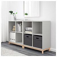 ЭКЕТ Комбинация шкафов с ножками, светло-серый, 140x35x80 см, фото 1