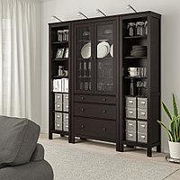 ХЕМНЭС Комб для хран с дверц/ящ, черно-коричневый, прозрачное стекло, 188x197 см, фото 1