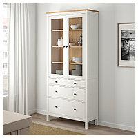 ХЕМНЭС Шкаф-витрина с 3 ящиками, белая морилка, светло-коричневый, 90x197 см, фото 1