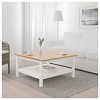 ХЕМНЭС Журнальный стол, белая морилка, светло-коричневый, 90x90 см, фото 1