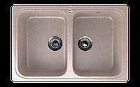 Мойка кухонная двухсекционная ECO Stone 775 x 495 с отверстие под смеситель
