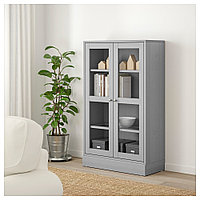 ХАВСТА Шкаф-витрина с цоколем, серый, прозрачное стекло, 81x37x134 см, фото 1