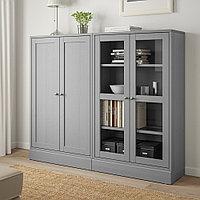 ХАВСТА Комбинация для хранения с сткл двр, серый, 162x37x134 см, фото 1