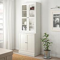 ХАВСТА Комбинация для хранения с сткл двр, белый, 81x47x212 см, фото 1