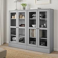 ХАВСТА Комбинация д/хранения+стекл дверц, серый, 162x37x134 см, фото 1