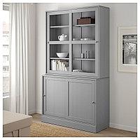 ХАВСТА Комбинация с раздвижными дверьми, серый, 121x47x212 см, фото 1