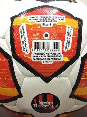 """Футбольный мяч ЛЧ """"Madrid 2019"""" кожаный (оранжевый), фото 2"""