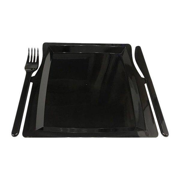Тарелка- Комбо (вилка + нож) 225мм*195мм*12мм, чёрн., 3 шт