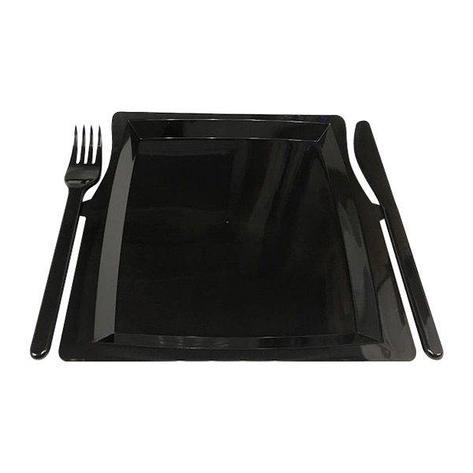 Тарелка- Комбо (вилка + нож) 225мм*195мм*12мм, чёрн., 3 шт, фото 2
