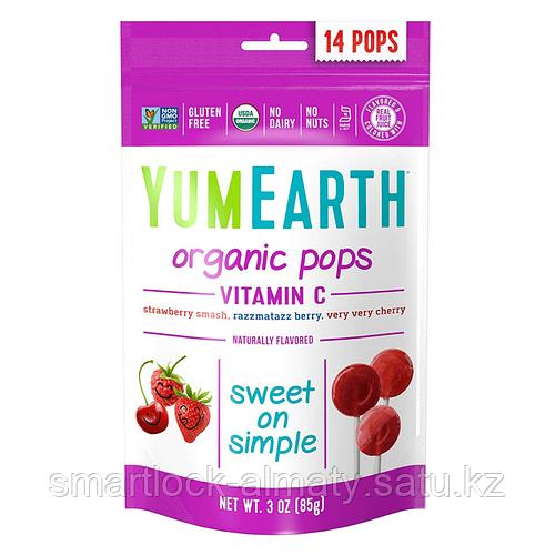 YumEarth Organic Pops Vitamin C Органические леденцы на палочке 85 гр