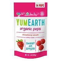 YumEarth Organic Pops Strawberry Smash Органические леденцы на палочке 85 гр