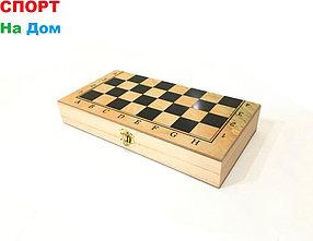 Деревянные шахматы 3в1 (размеры: 30*30*2,5 см)