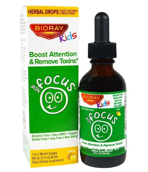 Bioray, NDF Focus, повышение внимания и удаление токсинов, для детей, с цитрусовым вкусом, 60 мл (2 жидких унц