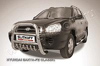 Кенгурятник высокий d76 с защитой картера Hyundai Santa Fe 2001-06