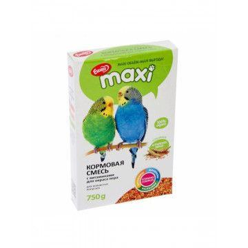 Корм Ешка MAXI для волнистых попугаев для окраса пера, с витаминами - 750 г