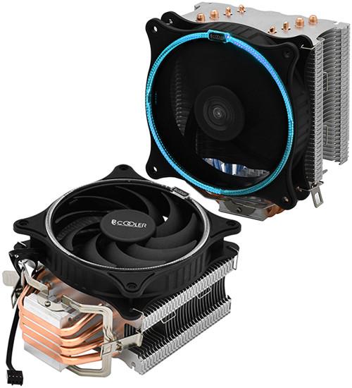 PCcooler GI-UX4B, синий, 4-пин, 115X/775/AM4-FM2, 26.5дБ, 1000-1800 об/мин, Al+тепл.трубки, 145W