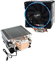 PCcooler GI-X5B, синий, 4-пин, 115X/775/AM4-FM2, 26.5дБ, 1000-1800 об/мин, Al+тепл.трубки, 160W