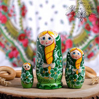 Матрёшка 3-х кукольная 'Душа России', зелёная, 11 см