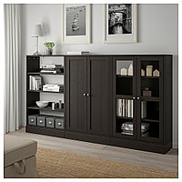 ХАВСТА Комбинация для хранения с сткл двр, темно-коричневый, 243x37x134 см, фото 1