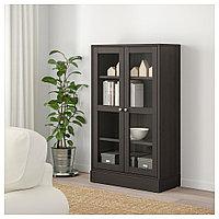 ХАВСТА Шкаф-витрина с цоколем, темно-коричневый, прозрачное стекло, 81x37x134 см, фото 1