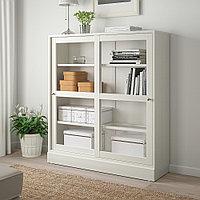 ХАВСТА Шкаф-витрина с цоколем, белый прозрачное стекло, 121x37x134 см, фото 1