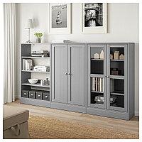 ХАВСТА Комбинация для хранения с сткл двр, серый, 243x37x134 см, фото 1