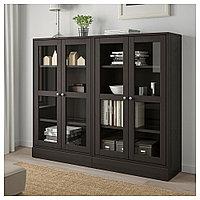 ХАВСТА Комбинация д/хранения+стекл дверц, темно-коричневый, 162x37x134 см, фото 1