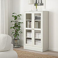 ХАВСТА Шкаф-витрина с цоколем, белый прозрачное стекло, 81x37x134 см, фото 1