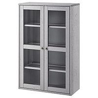 ХАВСТА Шкаф-витрина, серый, 81x35x123 см