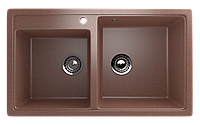 Мойка кухонная двухсекционная с отверстием под смеситель ECO Stone 840 х 485