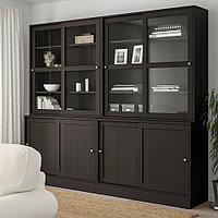 ХАВСТА Комбинация с раздвижными дверьми, темно-коричневый, 242x47x212 см, фото 1