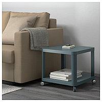 ТИНГБИ Стол приставной на колесиках, бирюзовый, 50x50 см, фото 1