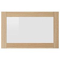 СИНДВИК Стеклянная дверь, под беленый дуб, прозрачное стекло, 60x38 см, фото 1