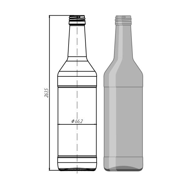 "Стеклотара  "" Wodka Bottle"" 500 мл"
